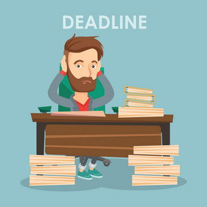 Caucasian business man having problem with deadline. Stressed business man sitting at workplace and clutching his head because of missed deadline. Vector flat design illustration. Square layout.