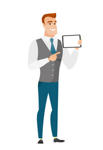 Caucasian business man holding tablet computer. Full length of business man pointing at tablet computer. Business man with tablet computer. Vector flat design illustration isolated on white background