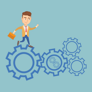 Caucasian business man in suit running on cogwheels. Business man running to success. Business man running in a hurry. Concept of moving to success. Vector flat design illustration. Square layout.