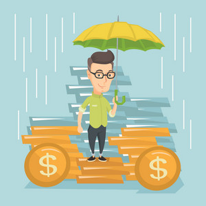 Caucasian business man insurance agent. Insurance agent holding umbrella over golden coins. Business insurance and business protection concept. Vector flat design illustration. Square layout.