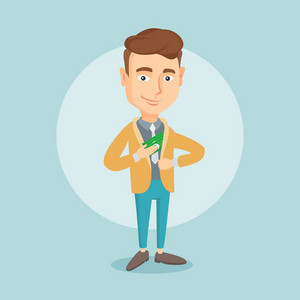 Caucasian business man putting money bribe in his pocket. Young business man hiding money bribe in jacket pocket. Bribery and corruption concept. Vector flat design illustration. Square layout.