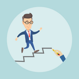 Caucasian business man running up the career ladder drawn by hand. Happy business man climbing the career ladder. Concept of business career. Vector flat design illustration. Square layout.