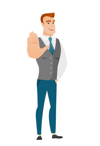 Caucasian business man showing palm hand. Full length of business man showing palm hand. Business man making stop gesture by his palm. Vector flat design illustration isolated on white background.