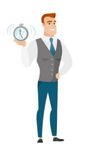 Caucasian business man showing ringing alarm clock. Full length of business man with alarm clock. Happy business man holding alarm clock. Vector flat design illustration isolated on white background