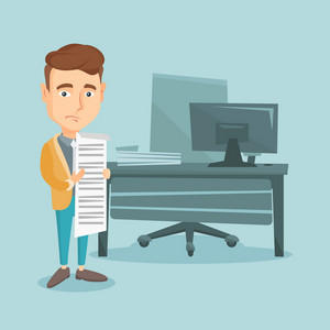 Caucasian business man standing in office with long bill in hands. Disappointed business man holding long bill. upset business man looking at long bill. Vector flat design illustration. Square layout.