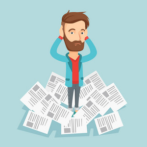 Caucasian business man surrounded by lots of papers. Overworked business man having a lot of paperwork. Business man standing in the heap of papers. Vector flat design illustration. Square layout.