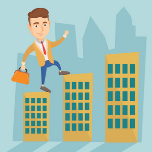 Caucasian business man walking on the roofs of city buildings. Business man walking on the roofs of skyscrapers. Business man walking to the success. Vector flat design illustration. Square layout.