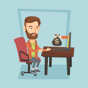 Caucasian business man working in office and bag of money coming out of laptop. Businessman earning money from online business. Online business concept. Vector flat design illustration. Square layout.