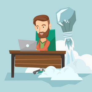 Caucasian business man working on laptop in office and idea bulb taking off behind him. Man having business idea. Successful business idea concept. Vector flat design illustration. Square layout.