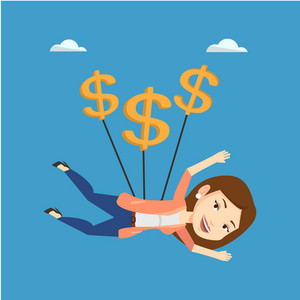 Caucasian business woman flying with dollar signs. Happy business woman gliding in the sky with dollars. Business woman using dollar signs as parachute. Vector flat design illustration. Square layout.