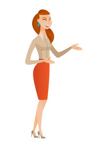 Caucasian business woman gesturing. Full length of young business woman gesturing with her hands. Business woman laughing and gesturing. Vector flat design illustration isolated on white background.