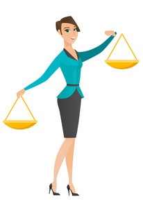 Caucasian business woman holding balance scale. Business woman with a balance scale in hands trying to make a right decision in business. Vector flat design illustration isolated on white background.