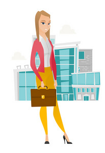 Caucasian business woman holding briefcase. Full length of young business woman with briefcase. Smiling business woman holding briefcase. Vector flat design illustration isolated on white background.