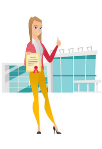 Caucasian business woman holding certificate. Young business woman with certificate. Business woman showing certificate and thumbs up. Vector flat design illustration isolated on white background