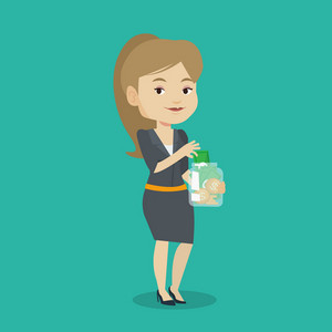 Caucasian business woman holding glass jar. Smiling business woman saving money banknotes in glass jar. Business woman putting money into glass jar. Vector flat design illustration. Square layout.
