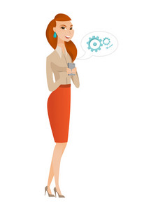 Caucasian business woman holding mobile phone in hands. Full length of business woman with mobile phone. Business woman using mobile phone. Vector flat design illustration isolated on white background