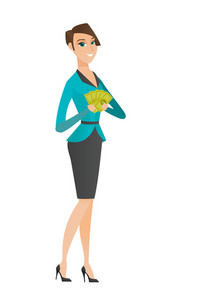 Caucasian business woman holding money. Excited business woman standing with money in hands. Full length of young businesswoman with money. Vector flat design illustration isolated on white background