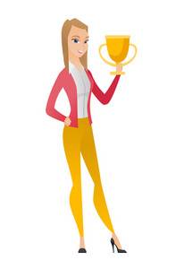 Caucasian business woman holding trophy. Full length of young business woman with trophy. Happy business woman celebrating with trophy. Vector flat design illustration isolated on white background.