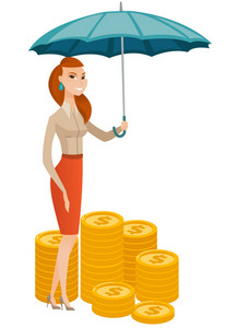 Caucasian business woman insurance agent. Insurance agent holding umbrella over coins. Business insurance and business protection concept. Vector flat design illustration isolated on white background.