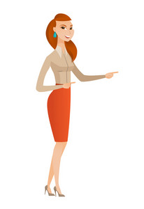 Caucasian business woman pointing to the side. Business woman pointing her finger to the side. Business woman pointing to the right side. Vector flat design illustration isolated on white background.