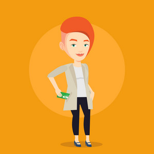 Caucasian business woman putting money bribe in her pocket. Young business woman hiding money bribe in pants pocket. Bribery and corruption concept. Vector flat design illustration. Square layout.