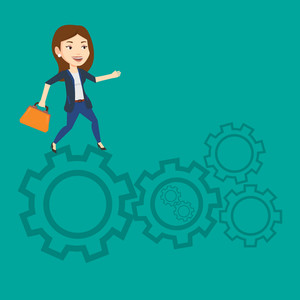 Caucasian business woman running on cogwheels. Business woman running to success. Business woman running in a hurry. Concept of moving to success. Vector flat design illustration. Square layout.
