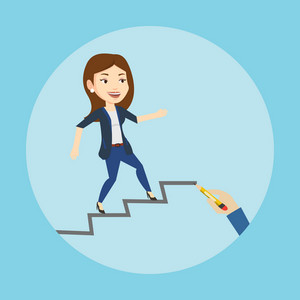 Caucasian business woman running up the career ladder drawn by hand. Happy business woman climbing the career ladder. Concept of business career. Vector flat design illustration. Square layout.