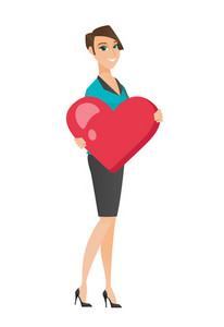 Caucasian business woman showing a big heart. Full length of young business woman with heart shape. Happy business woman holding a heart. Vector flat design illustration isolated on white background.