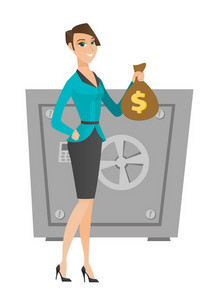 Caucasian business woman showing money bag on the background of safe. Business woman with money bag. Business woman holding money bag. Vector flat design illustration isolated on white background.