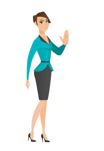 Caucasian business woman showing palm hand. Full length of business woman showing palm hand. Business woman making stop gesture by palm. Vector flat design illustration isolated on white background.