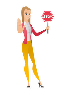 Caucasian business woman showing stop road sign. Full length of business woman holding stop road sign. Business woman with stop road sign. Vector flat design illustration isolated on white background.