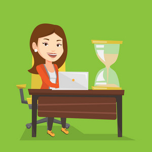 Caucasian business woman sitting at the table with hourglass symbolizing deadline. Business woman coping with deadline successfully. Deadline concept. Vector flat design illustration. Square layout.