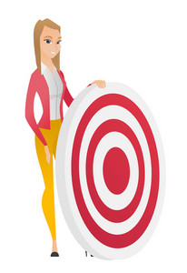 Caucasian business woman standing near a dart board. Full length of young business woman and a dart board. Business competition concept. Vector flat design illustration isolated on white background.