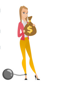 Caucasian business woman taxpayer holding bag with dollar sign. Captive taxpayer holding bag with taxes. Concept of tax time and taxpayer. Vector flat design illustration isolated on white background.