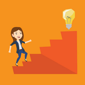 Caucasian business woman walking upstairs to the idea light bulb. Businesswoman running on the stairs to get idea bulb on the top. Business idea concept. Vector flat design illustration. Square layout