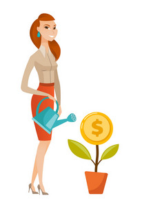 Caucasian business woman watering money flower. Business woman investing money in business project. Concept of investment in business. Vector flat design illustration isolated on white background.