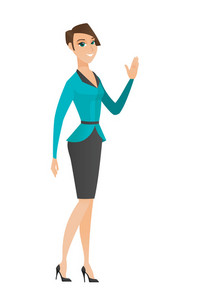 Caucasian business woman waving her hand. Full length of business woman waving hand. Business woman making greeting gesture - waving hand. Vector flat design illustration isolated on white background.