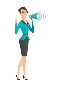 Caucasian business woman with loudspeaker making an announcement. Full length of business woman making announcement through a loudspeaker. Vector flat design illustration isolated on white background.
