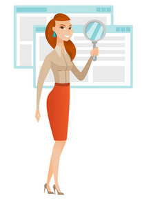Caucasian business woman with magnifying glass. Full length of young business woman holding magnifying glass on the background of web page. Vector flat design illustration isolated on white background