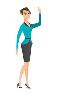 Caucasian business woman with open mouth pointing finger up. Full length of young businesswoman with open mouth came up with business idea. Vector flat design illustration isolated on white background