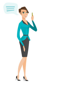 Caucasian business woman with speech bubble. Young business woman giving a speech. Business woman with speech bubble coming out of head. Vector flat design illustration isolated on white background.