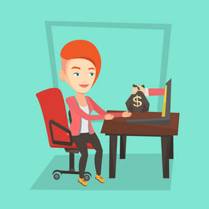 Caucasian business woman working in office and bag of money coming out of laptop. Woman earning money from online business. Online business concept. Vector flat design illustration. Square layout.