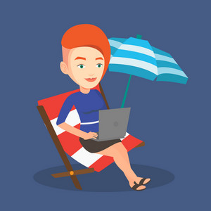 Caucasian business woman working on the beach. Business woman sitting in chaise lounge under beach umbrella. Business woman using laptop on the beach. Vector flat design illustration. Square layout.