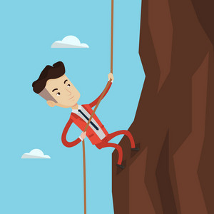 Caucasian businessman climbing on the rock. Young brave man wearing business suit trying to reach the top of the mountain. Concept of business challenge. Vector flat design illustration. Square layout