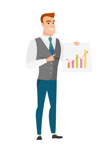 Caucasian businessman giving business presentation and showing financial chart. Full length of business man pointing at financial chart. Vector flat design illustration isolated on white background.