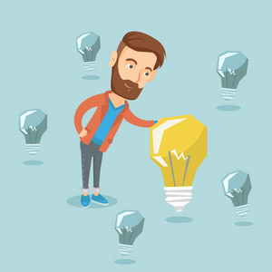 Caucasian businessman having business idea. Young hipster businessman standing among unlit idea light bulbs and looking at the brightest idea light bulb. Vector flat design illustration. Square layout