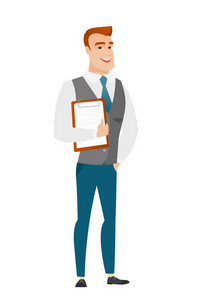 Caucasian businessman holding clipboard with papers. Full length of businessman with papers. Young smiling businessman holding papers. Vector flat design illustration isolated on white background.
