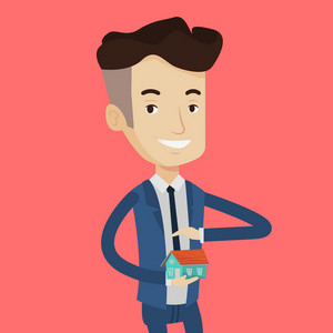 Caucasian businessman holding house model. Real estate agent protecting model of the house. Property insurance and security concept. Man insuring house. Vector flat design illustration. Square layout.