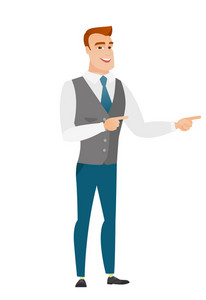 Caucasian businessman indicating with two fingers to the side. Full length of cheerful businessman pointing with two fingers to the side. Vector flat design illustration isolated on white background.