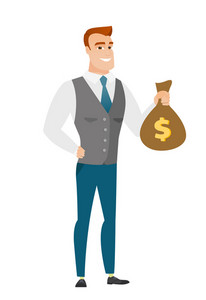 Caucasian businessman showing money bag with dollar sign. Full length of young businessman with money bag. Businessman holding money bag. Vector flat design illustration isolated on white background.